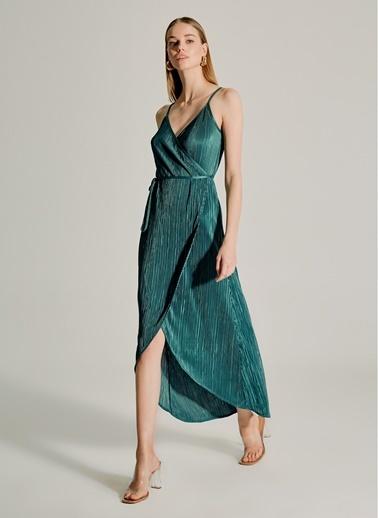 NGSTYLE Pliseli Askılı Elbise Yeşil